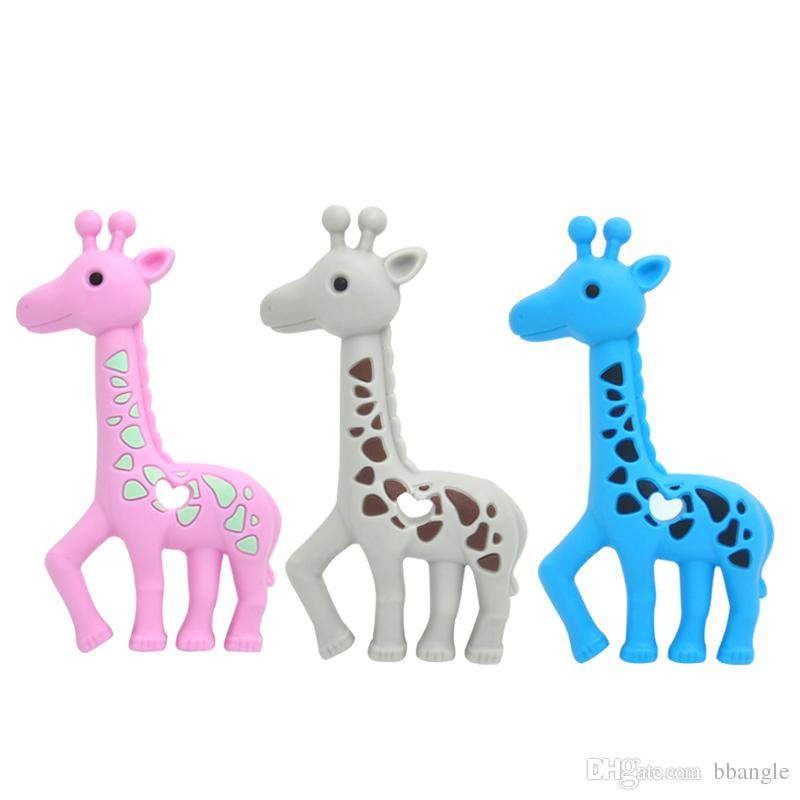 Yeni Zürafa Dişlikler Silikon Diş Çıkarma Oyuncak Bebek Güvenli Kolye Kolye Çiğneme Boncuk Sevimli Sika Geyik Diş Kaşıyıcı Hemşirelik Oyuncaklar Duş Hediyeler