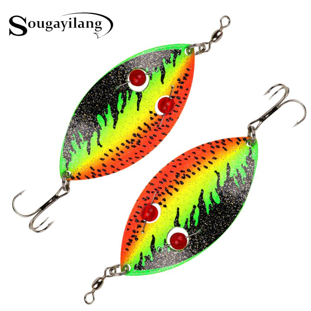 Fishing Lures Sougayilang 35g Winter Spoon Fishing Lure 12cm Trout Hard Metal Vib Lure Pike Fake Fish Spinner Bait Artificial with