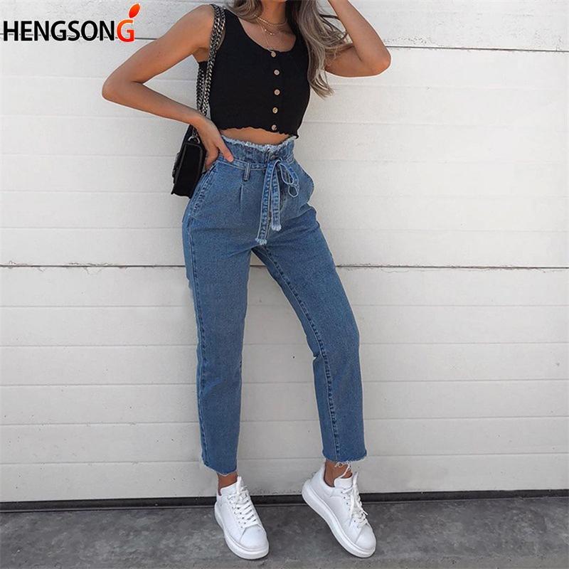 b461d8d1e668a Acheter Femmes Casual Jeans Taille Haute Avec Ceinture Femmes Automne  Cheville Longueur Jeans Denim Zipper Burr Pantalon Pantalon 2018 De  34.65  Du ...