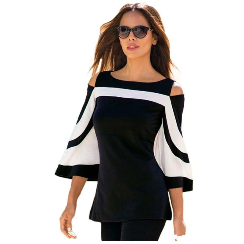2018 New Designer Women Long T Shirt Tops Best Blouse Black White