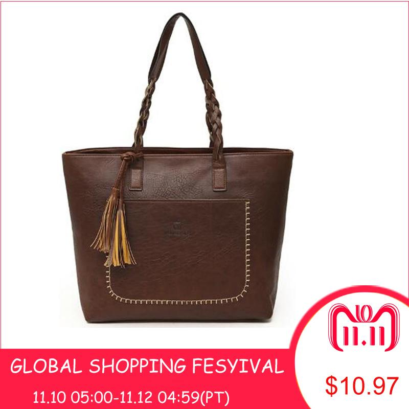 2019 Fashion 2018 Large Capacity Women Bags Shoulder Tote Bags Bolsos New  Women Messenger Bags With Tassel Famous Designers Leather Handbags Leather  Bags ... da18e7314c5a6