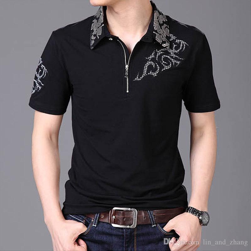 760cd2a8d Summer 2018 Hot Men T Shirt Silver Dragon Tattoo Collar Short Sleeve Cotton T  Shirt Men S Casual Gentleman Tee Shirt Plus 5XL T Shirts Online White Shirt  ...