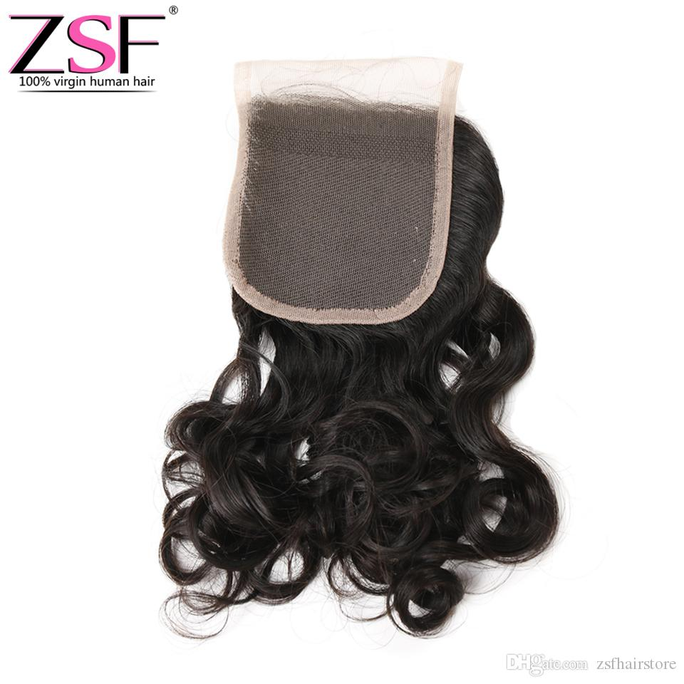 ZSF 8A Brazilian Virgin Hair Natural Water Wave With 4x4 Lace Closure Human Hair Extensions