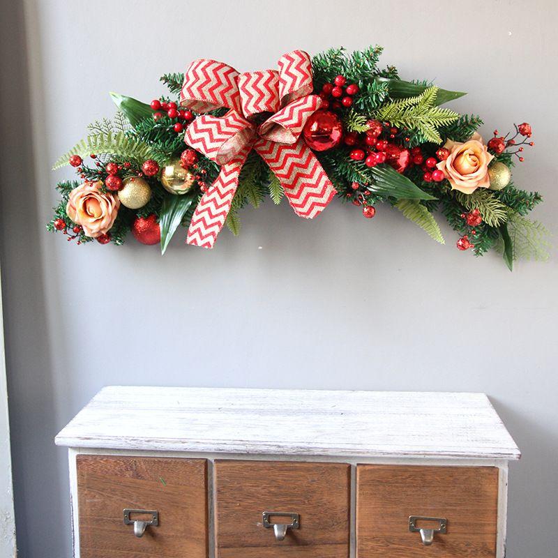 60cm European Christmas Tree Pine Needles Large Bow Berry Horns