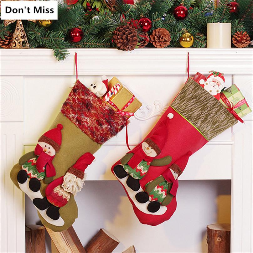 Christmas Decorations For Tree Door Wall Hanging Christmas Stockings Gift Holders Santa Claus Snowman Elk Gift Bags