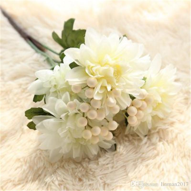 2018 Artificial Dali Flower Bouquet With 6 Flower Heads Bridal White ...