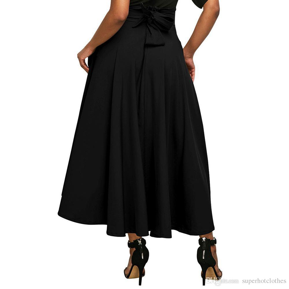 0419679513 Women Solid High Waist Pockets Flared Pleated Long Skirt With Belt ...