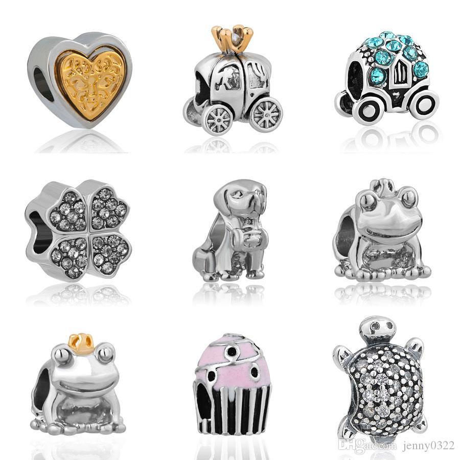 Livraison gratuite MOQ Or argent chien voiture Grenouille Tortue Charms Perle Hanging Bracelet animaux propres original Pandora Bijoux DIY makeing J016