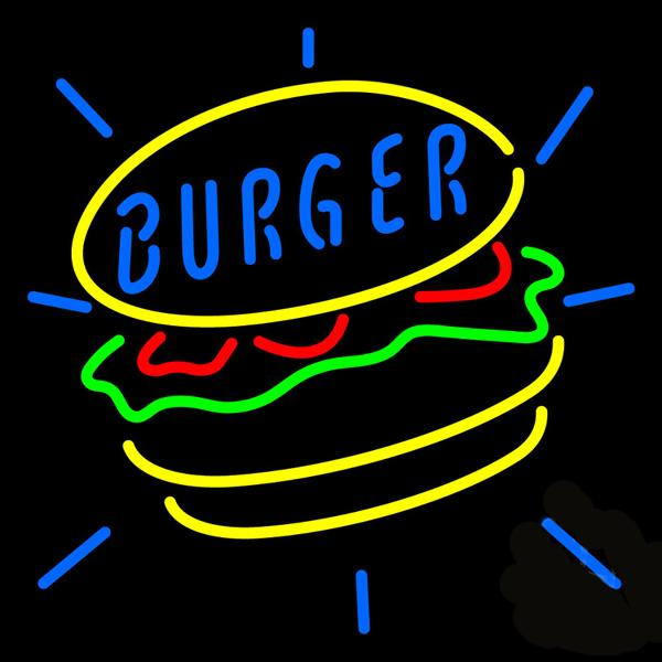 "Burger hamburgers Bread Neon Sign Custom Handmade Real Glass Tube Store Shop Restaurant Sandwich Advertisement Display Neon Signs 24""X24"""