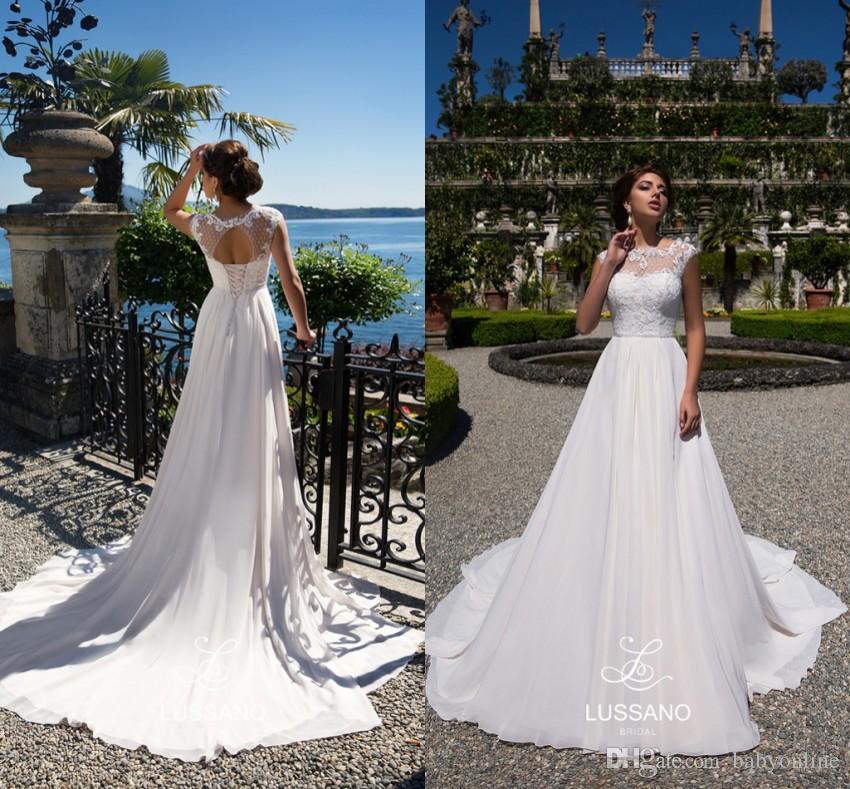 71a822c1a2792 Summer Garden Beach Wedding Dresses A Line Sheer Neck Cap Sleeves Empire  Waist Bridal Gowns Keyhole Backless Boho Robe De Soriee Beach Wedding Dress  ...