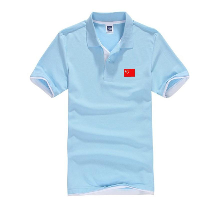 b916322e750c 2019 2018 Fashion Short Sleeve Polo Shirt Men Turn Down Collar Chinese Red  Flag Printing Casual Dry Fit Polo Shirts From Shuangyin002