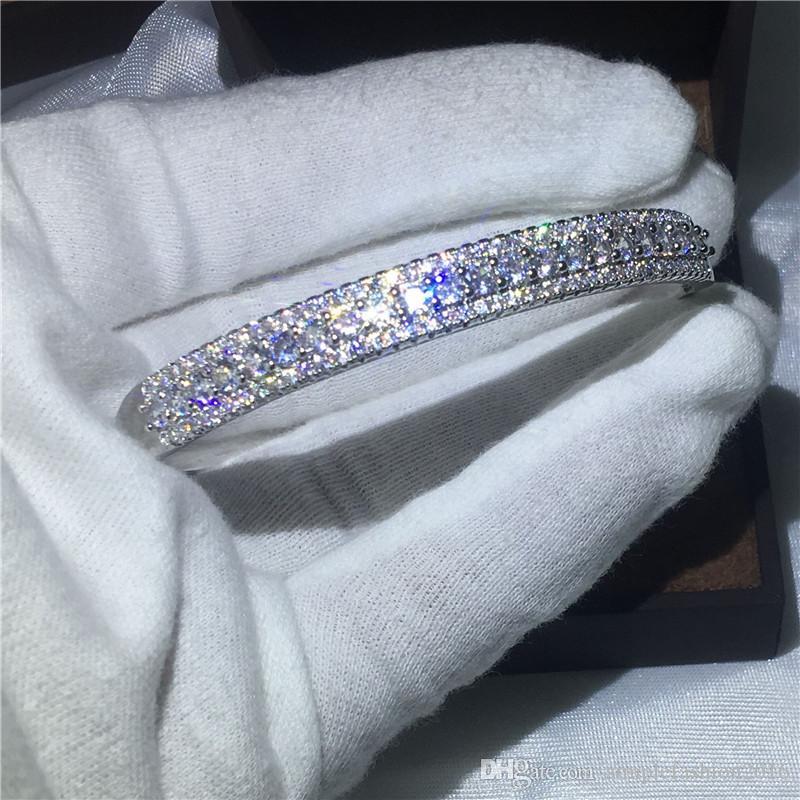 Bohemia Bridal bracelet Pave settling D White Gold Filled Engagement Bangle for women wedding accessaries
