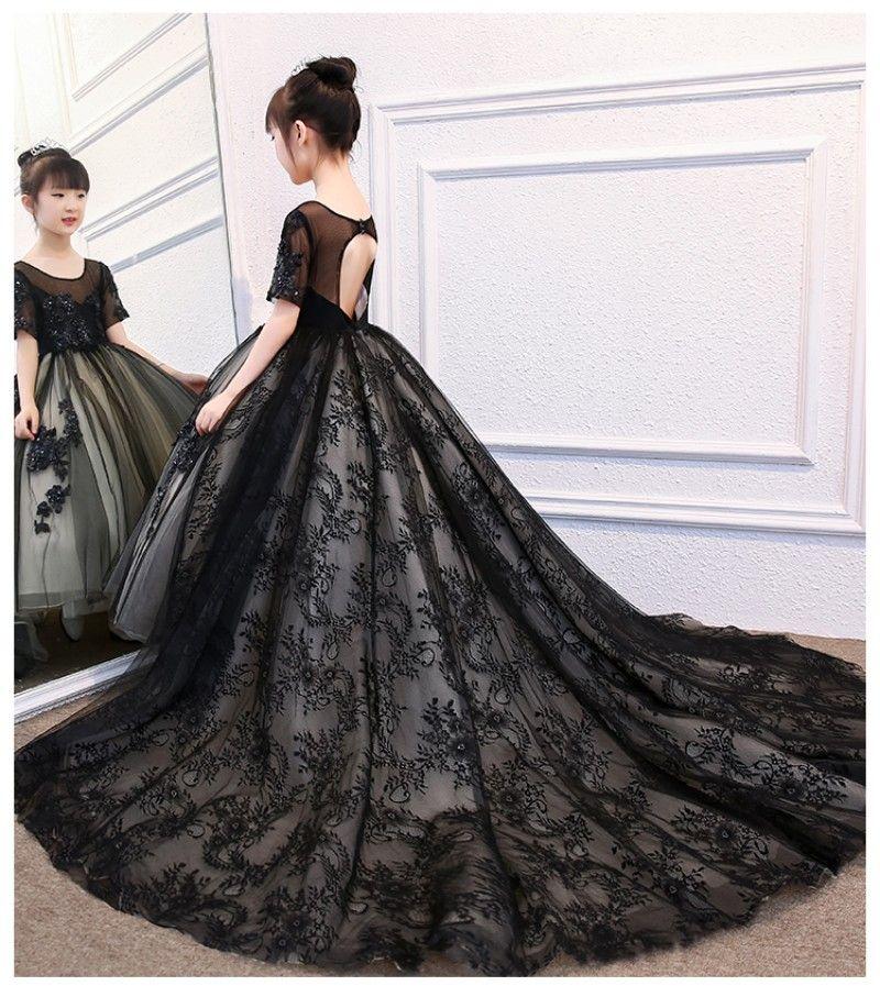 Siyah Prenses Balo Çiçek Kız Elbise Düğün İçin Kısa Kollu Dantel Aplike Kız Pageant Törenlerinde Boncuk Çocuk Communion Elbise