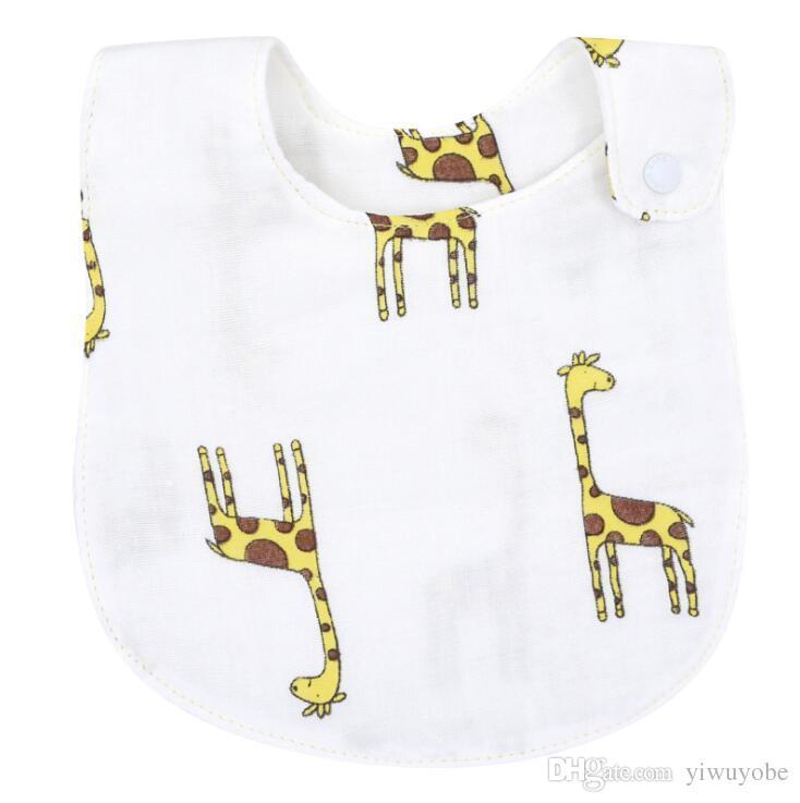 Cotton gauze six layers saliva towels Baby bibs burp cloths Wash Cloth Handkerchiefs Feeding Bibs cartoon designs mix