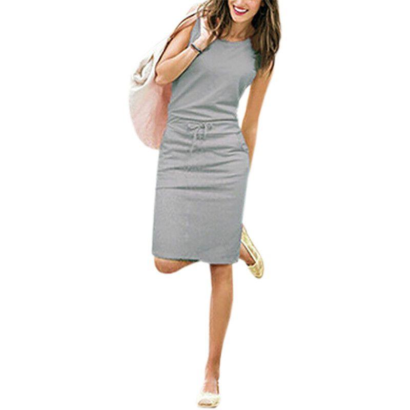 a869ead585f1 Summer Casual Dress Women Sleeveless Cotton Slim Pencil Dresses 2018 ...