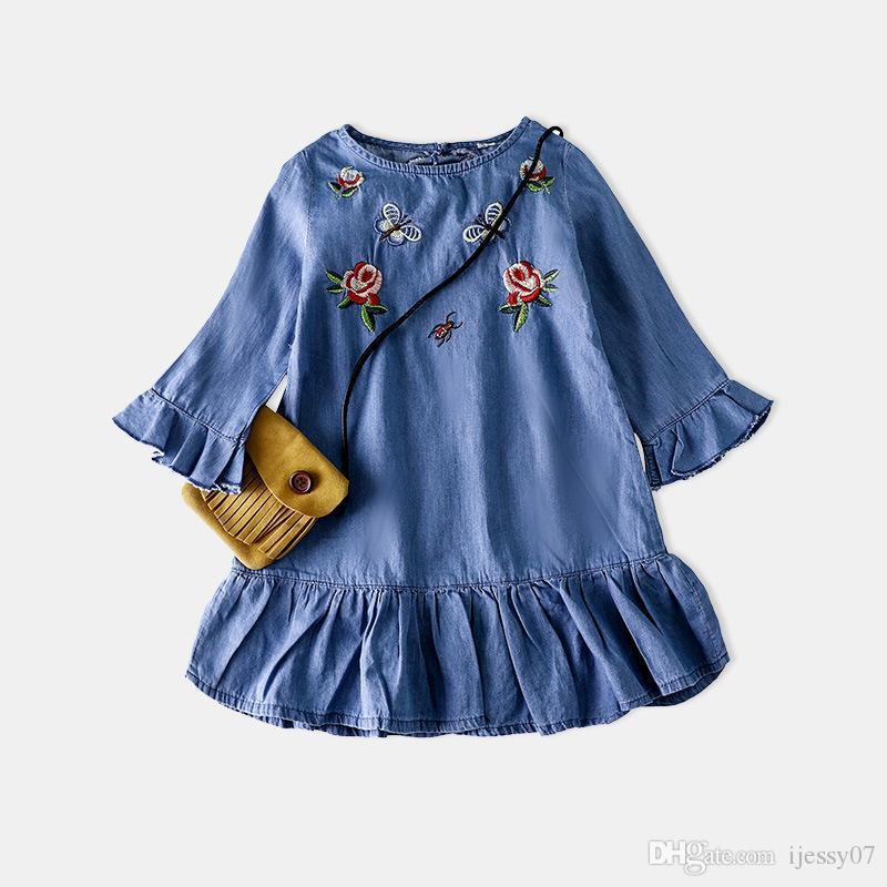 60a297459 Baby Girls Dress 2018 Children s Garment Girl Embroidery Soft Pure ...