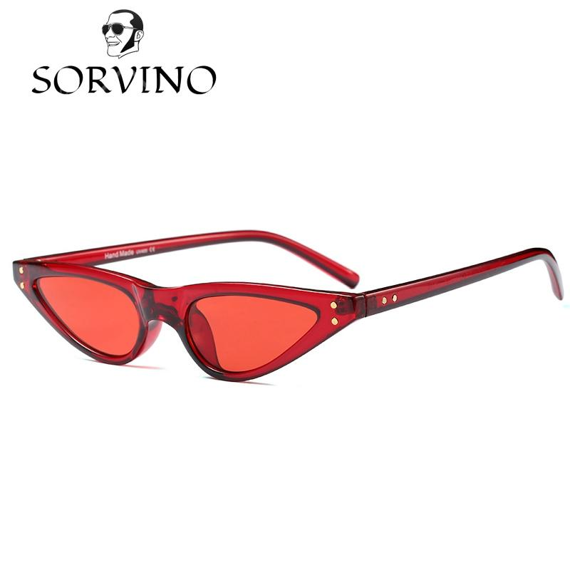 e7f656cc13b45 Compre SORVINO 2018 Pequeno Vermelho Cat Eye Sunglasses Mulheres Sexy Design  De Marca Leopardo Cateye Quadro Retro Skinny Triangle Magro Óculos De Sol  ...