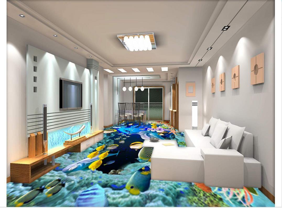 Self-adhesive 3D wallpaper customized 3D floor painting wall paper 3D underwater world floor background wall bathroom floor wallpaper decor