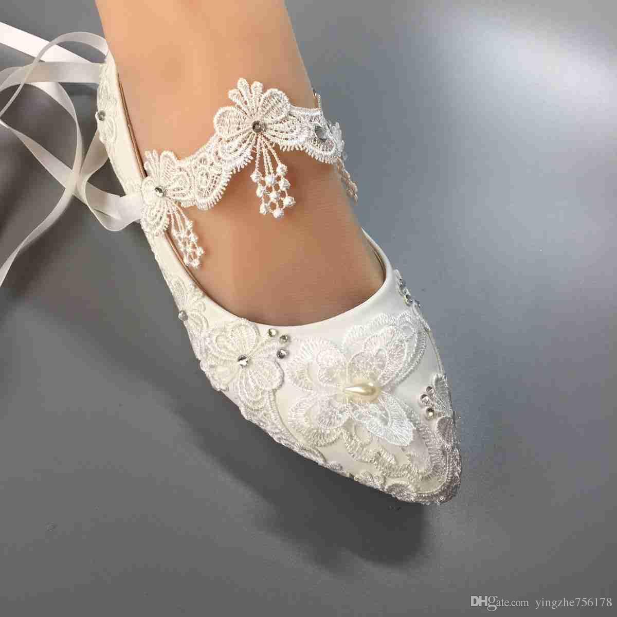 Grosshandel Frauen Hochzeit Flache Schuhe Wasserdichte Weisse Spitze