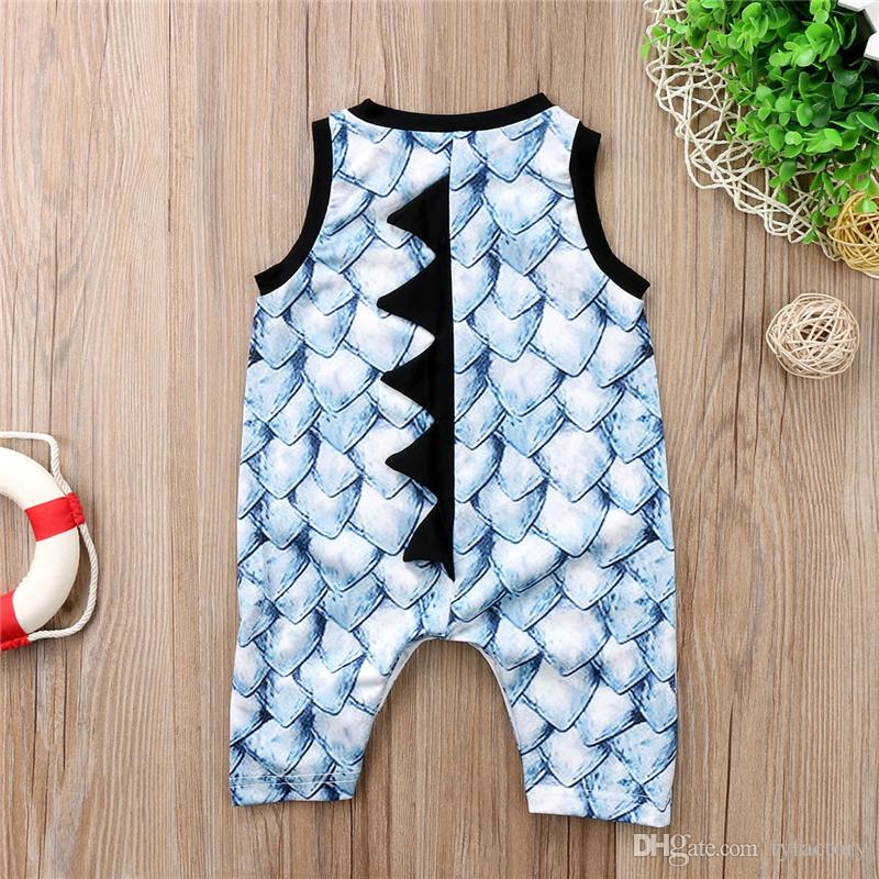 New Brand Baby Boy Toddler Dinosaur Onesies Jumpsuit Romper Boutique Sleeveless Cotton Bodysuit Baby Animal Outfit Clothe Kid Clothing 0-24M