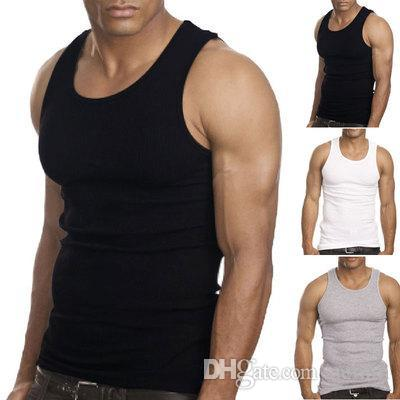 ef0098971c0567 2019 Wholesale Muscle Men Top Quality 100% Premium Cotton A Shirt Wife  Beater Ribbed Tank Top From Nemin