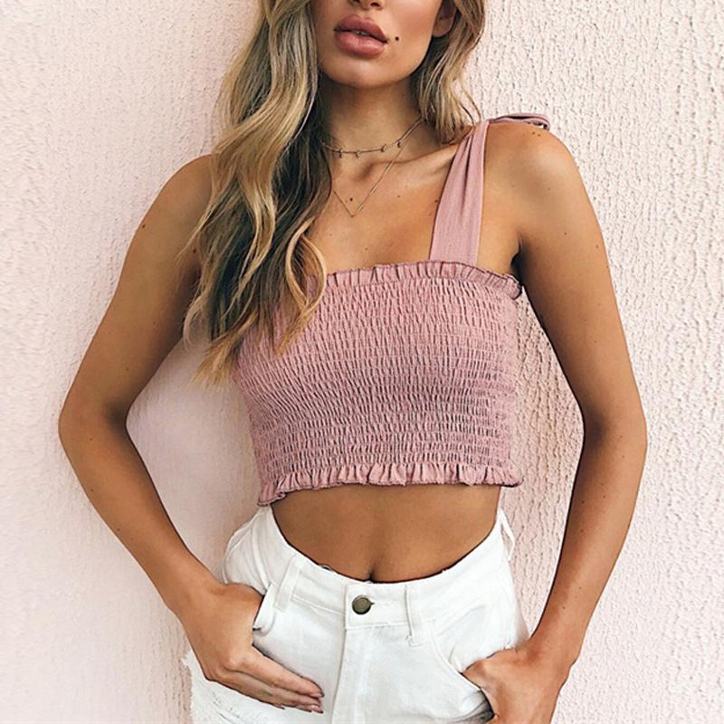 ddd2744f291fe 2019 Naiveroo Sexy Bow Tie Straps Summer Camisole New Women Lace Up Ruched  Elastic Tube Tank Top Bandage Slim T Shirt Cropped Tops From Bunnier