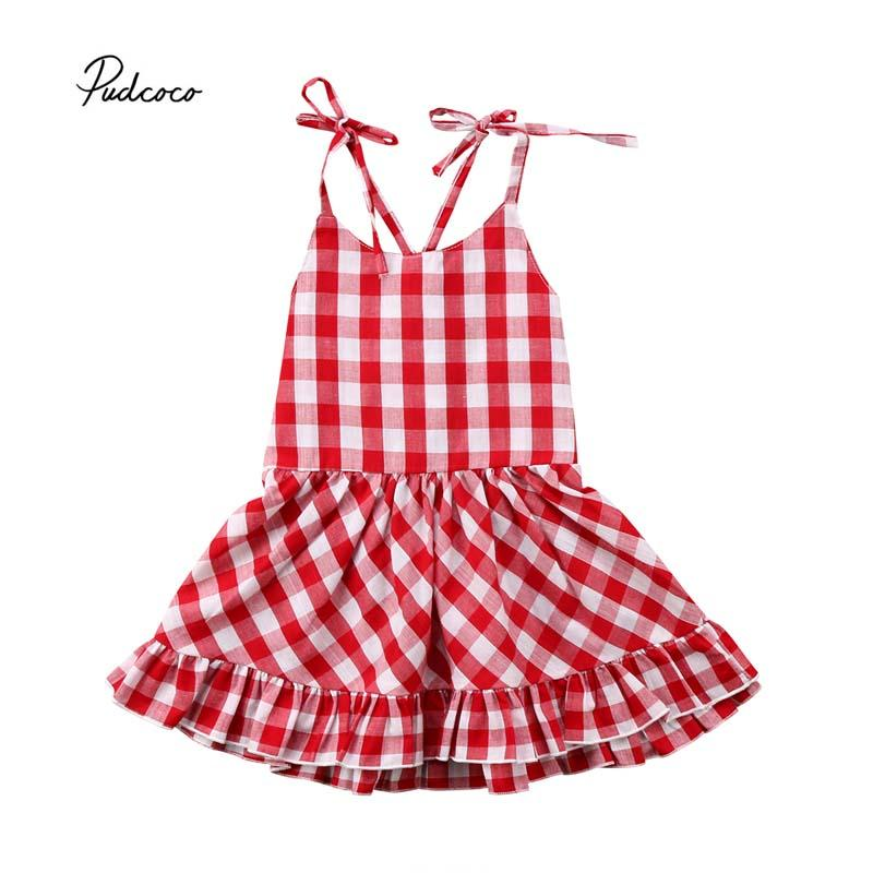 91f26a9ca 2019 Pudcoco 2018 Newborn Baby Girl Dress Plaid Strap Sleeveless Princess  Party Pageant Prom Holiday Sundress Outfit Clothes 0 24M From Callshe, ...