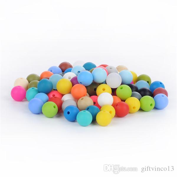 12mm Silicone Beads Food Grade Teething Beads Nursing Chewing Round Loose Beads Colorful DIY Necklace Teether Jewelry Sensory Accessories