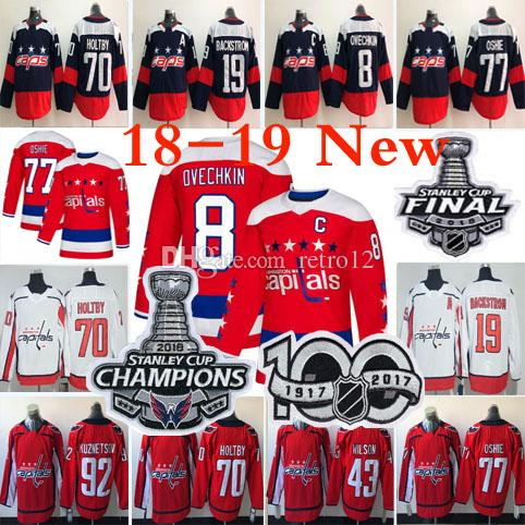 c86a1c110 18 19 Stanley Cup Champions Washington Capitals Hockey Alex Ovechkin  Nicklas Backstrom TJ Oshie Braden Holtby Tom Wilson Kuznetsov Jerseys UK 2019  From ...
