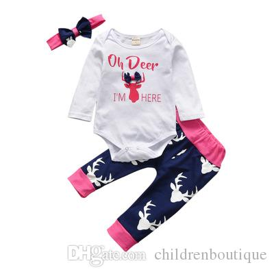 69e01dddade4 Christmas Newborn Baby Girls Clothes Set Infant Toddler Deer Head ...