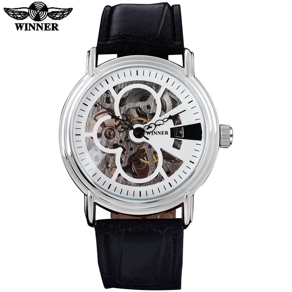 023520c0f73a Compre GANADOR Hombres Reloj Nueva Moda Y Diseño De Esqueleto Casual Auto  Viento Correa De Cuero Clásico Relojes De Pulsera Relogio Masculino A   35.01 Del ...