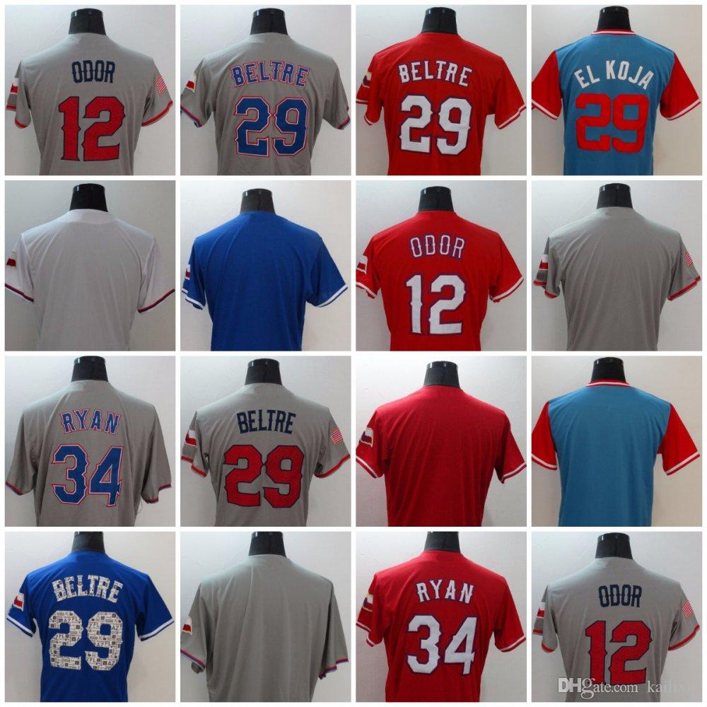 2018 29 adrian beltre 12 rougned odor 34 nolan ryan baseball jerseys red bule gray sewing