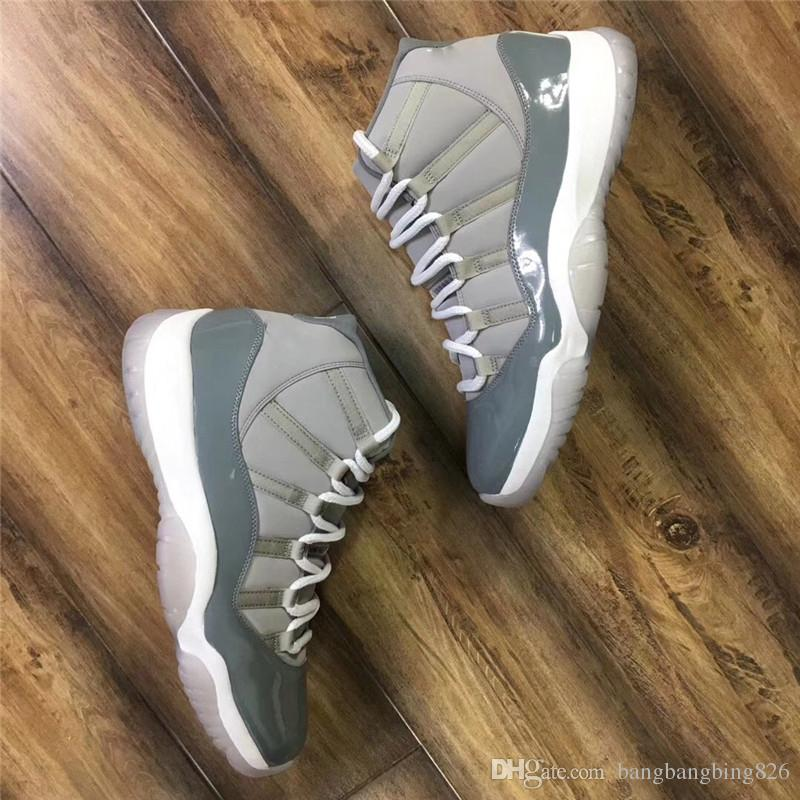 NEW TOP Version 11 XI High White Cool Grey Men Basketball Shoes Real Carbon Fiber Smooth Authentic Sneakers Shoes 2010 Style 136046-011