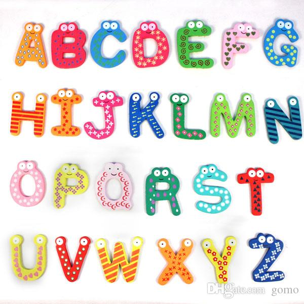 2018 Hot Sale New Kids Toys Wooden Cartoon Alphabet Abc Xyz Magnets