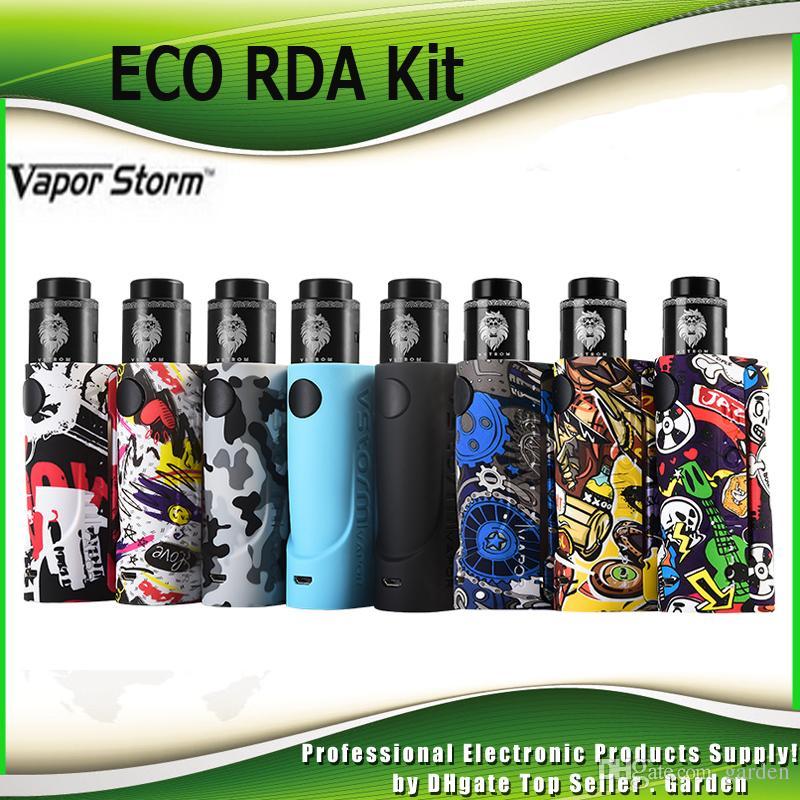 Authentic Vapor Storm Eco Rda Starter Kits W Single  Battery Graffiti Box Mod Lion Rda Vape Kit  Genuine Vape Starter Kits Best E Cig Starter Kit