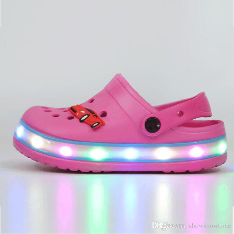 dcff2850442877 LED Children EVA Pink Clogs Summer Kids Comfortable Shoes For Boys Girls  Outdoor Luminous Sandals Slippers Kids Footwear Sole Light Up Shoes Kids  Shos ...