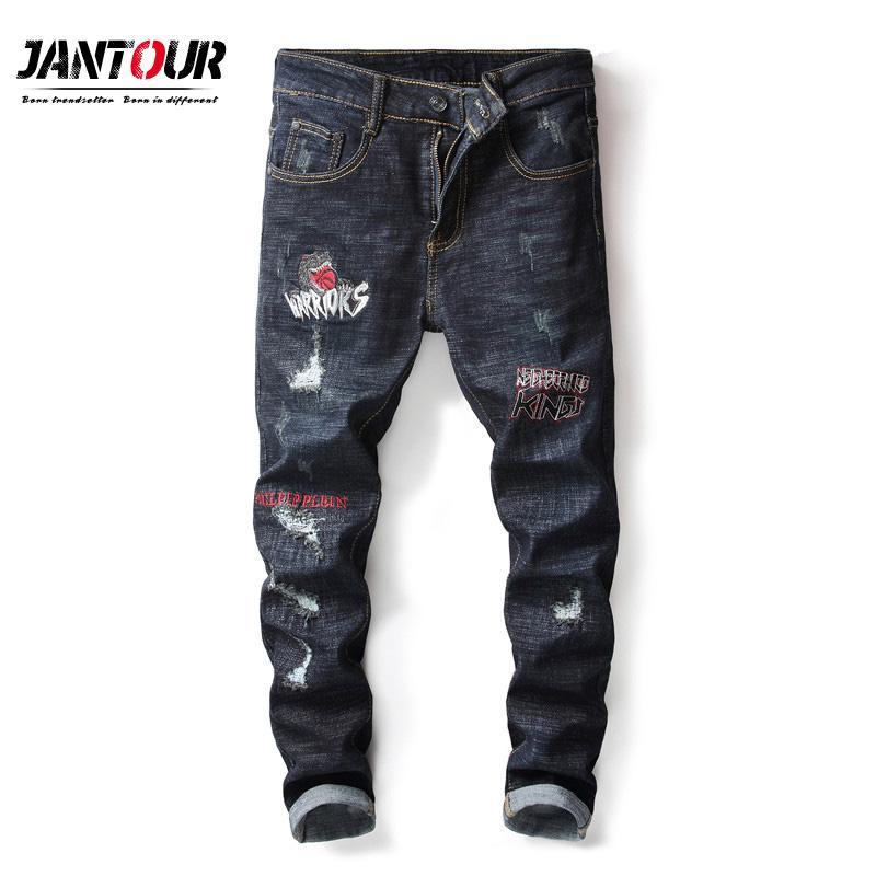 983297b9aef7 Acquista Pantaloni Diritti Diritti Elastici Pantaloni Di Cotone Pantaloni  Jeans Di Buona Qualità Uomini Denim, 2018 Nuovi Uomini Di Jeans Ricamo Zona  Di ...