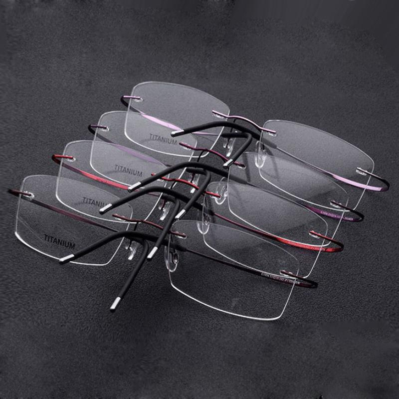 22917aa303d 2019 Rimless 100% Titanium Eyeglasses Frame Super Lightweighted Flexible  Titanium Alloy Temple Legs Optical Glasses Spectacles From Kuchairly