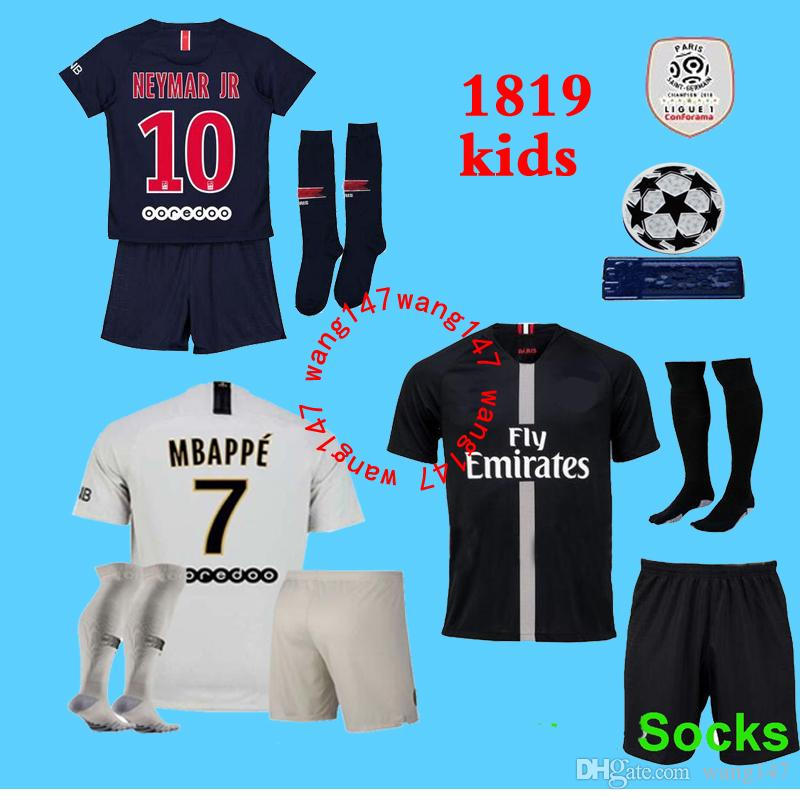 b6a55c64e 2019 2018 2019 Kids Kit Paris PSG Mbappe Soccer Jerseys 18 19 Champions League  Home VERRATTI CAVANI DI MARIA PASTORE DE FOOT Child SHIRT From Wang147