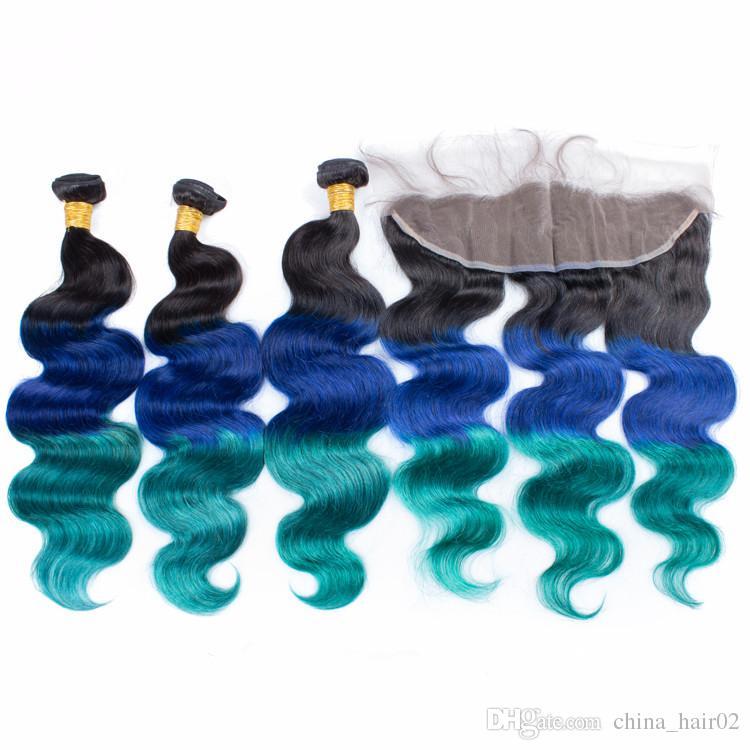 حزم الجسم موجة عذراء بيرو # 1B / الأزرق / الأخضر أومبير مع 13x4 الرباط أمامي إغلاق 3 لهجة الشعر البشري الملونة ينسج مع أمامي