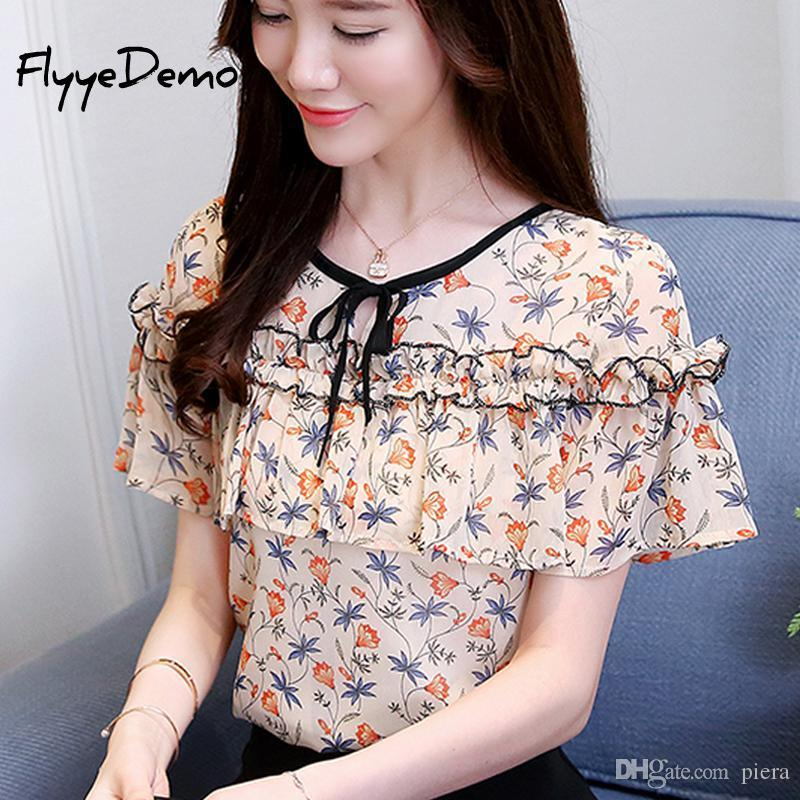 f0918189716 2019 2018 Summer Cute Floral Print Chiffon Blouse Ruffled Bow Shirt Petal Short  Sleeve Chiffon Tops Plus Size Blusas Femininas From Piera