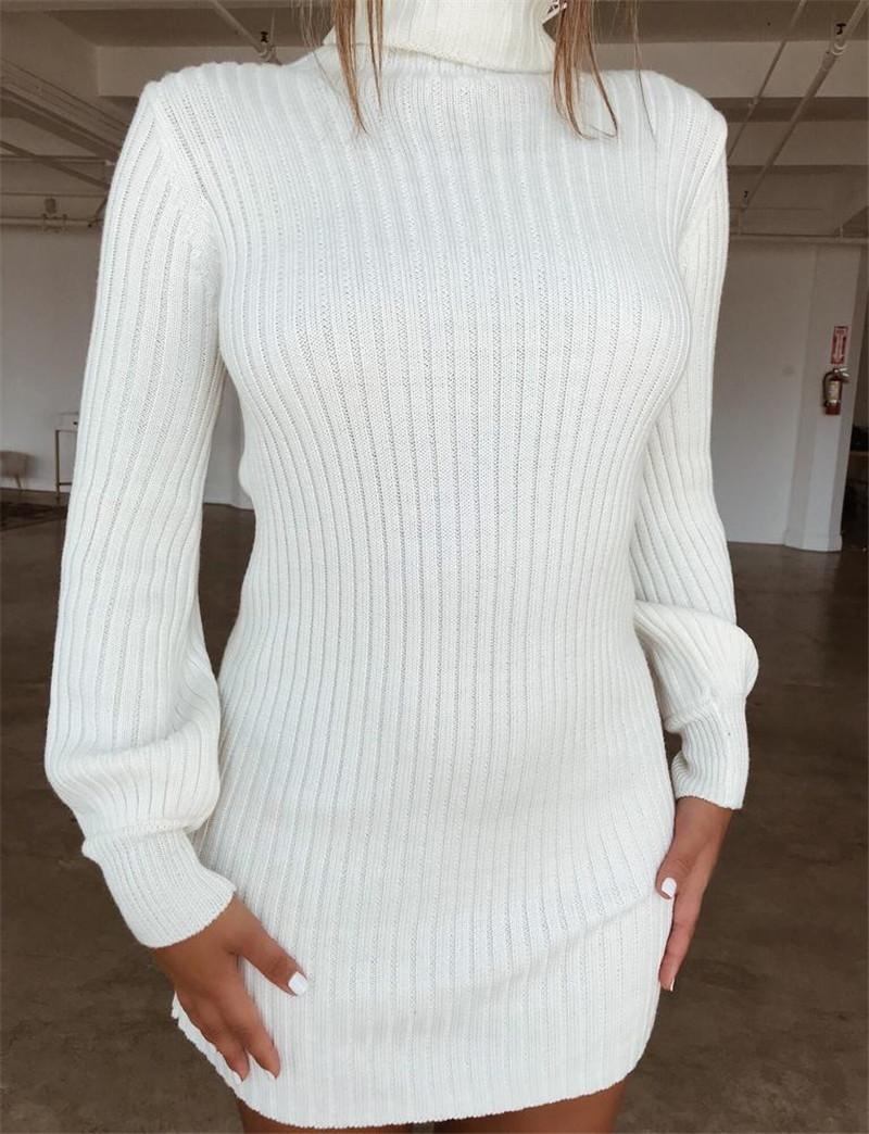 2018 Otoño Invierno Mujer Nuevo Mini Vestido Sólido de Cuello Alto Manga Larga Sexy Moda Casual Tejido Cálido Suéteres Ropa femenina