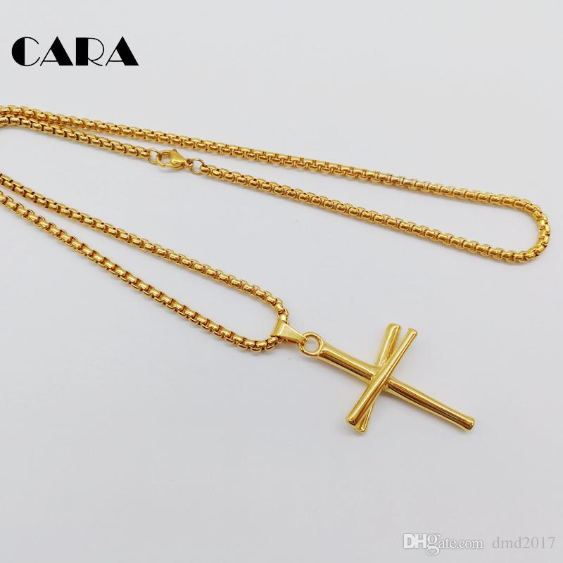 CARA Gold color Baseball bat cross necklace 316L stainless steel cross necklace fashion gym sports biker necklace gift CARA0440-1