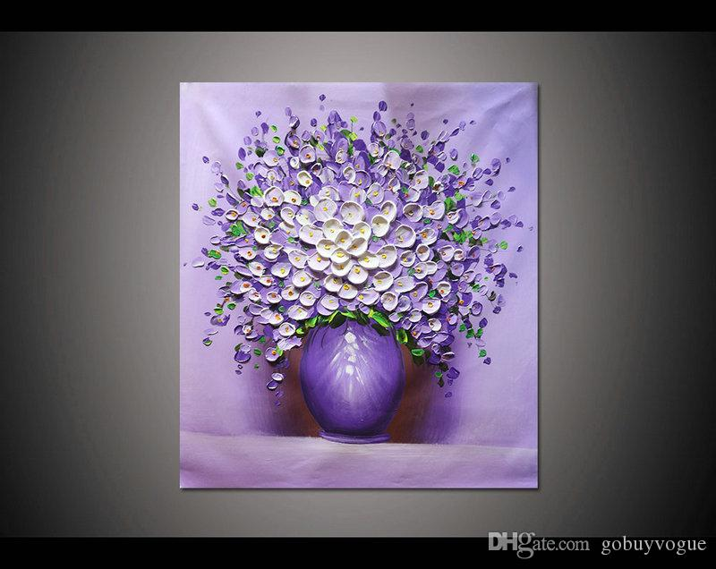 2018 24x32 Inches Hand Painted Home Decor Hang Wall Art Picture White  Purple Flower Vase Thick Palette Knife Canvas Oil Painting By Lisa From  Gobuyvogue, ...