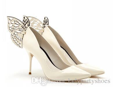 2018 Rosa Azul Couro De Patente Sapatos de Salto Alto Asas de Borboleta Apontou Toe Mulheres Bombas de Salto Alto Sapatos De Casamento Nupcial