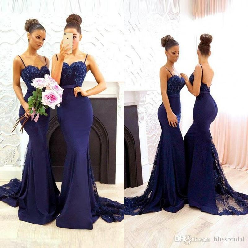 2018 Country Style Navy Blue Sweetheart Backless Bridesmaid Dresses Mermaid Spaghetti Sweep Train Lace Applique Beads Wedding Guest Dresses