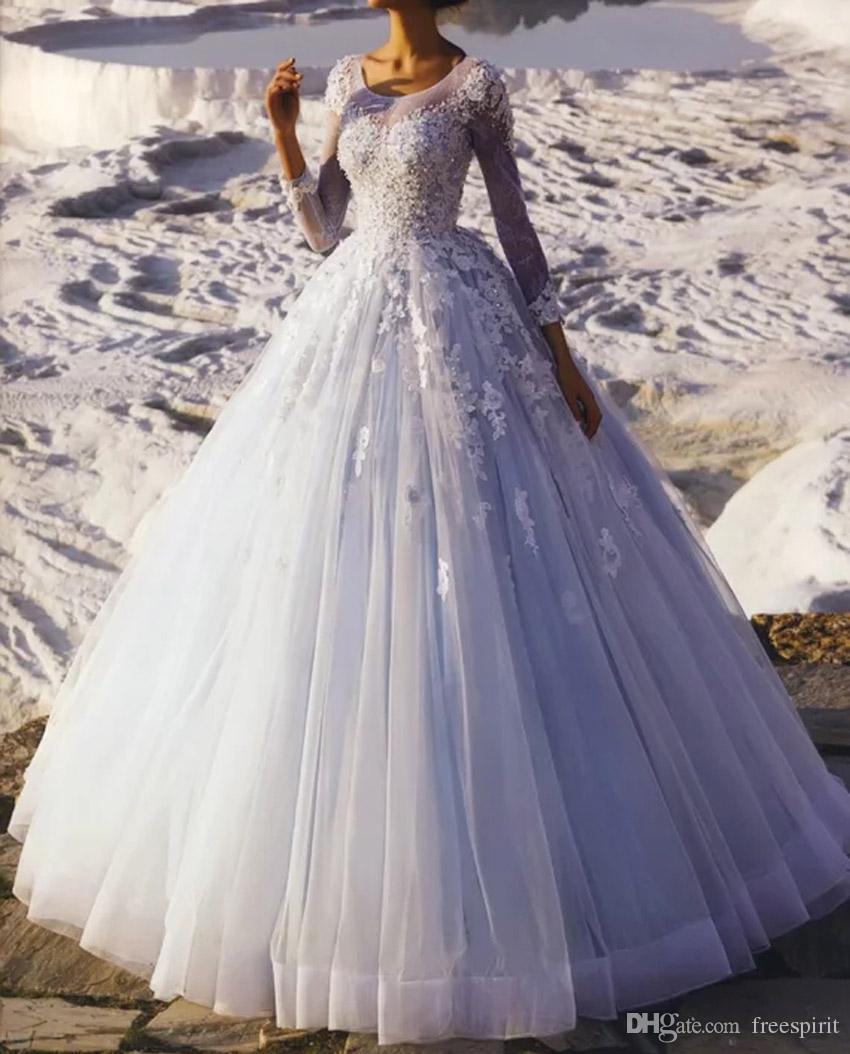 Großhandel Prinzessin Ballkleid Brautkleid Für Braut Illusion Ausschnitt  Sheer Long Sleeve Lace Brautkleider Luxus Von Freespirit, 19,19 € Auf
