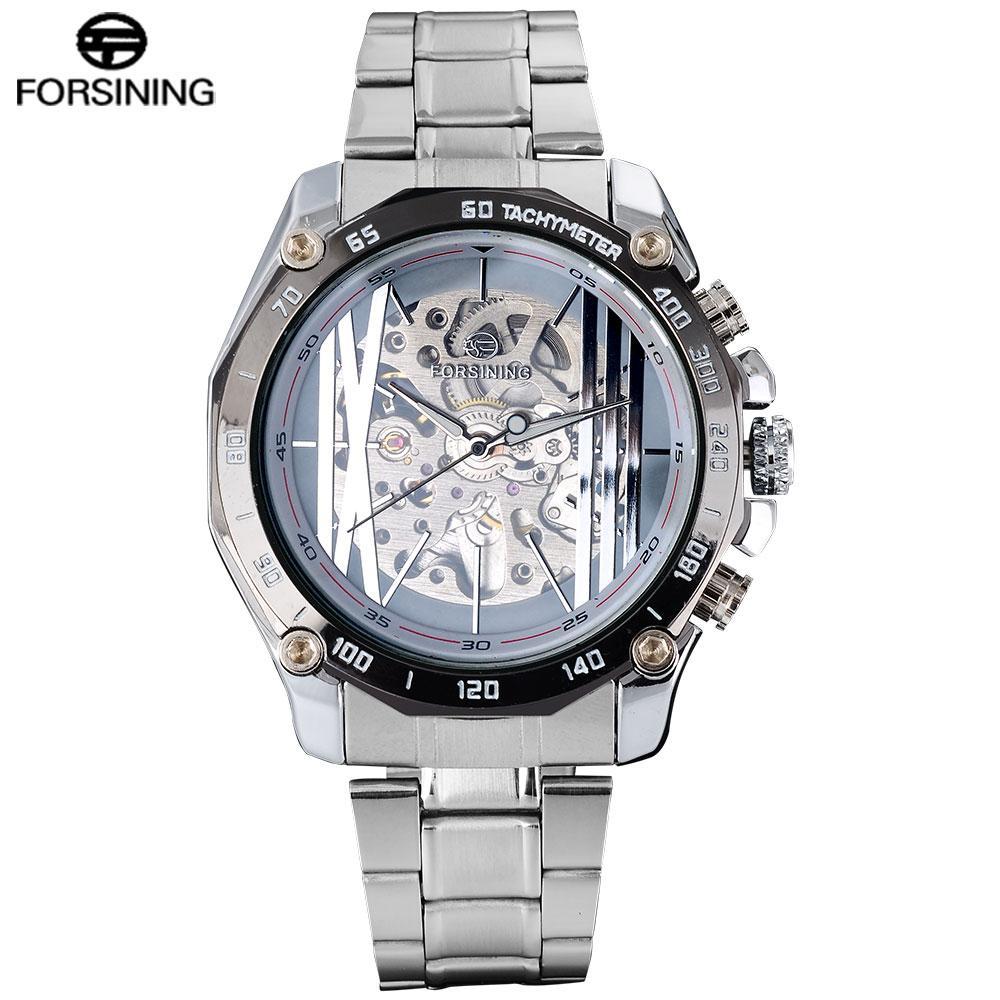50ecbf2d515 Compre FORSINING Relojes Automáticos De Lujo De La Marca De Fábrica De Los Hombres  Relojes Mecánicos Esqueleto Creativo De La Pulsera De Acero Inoxidable ...
