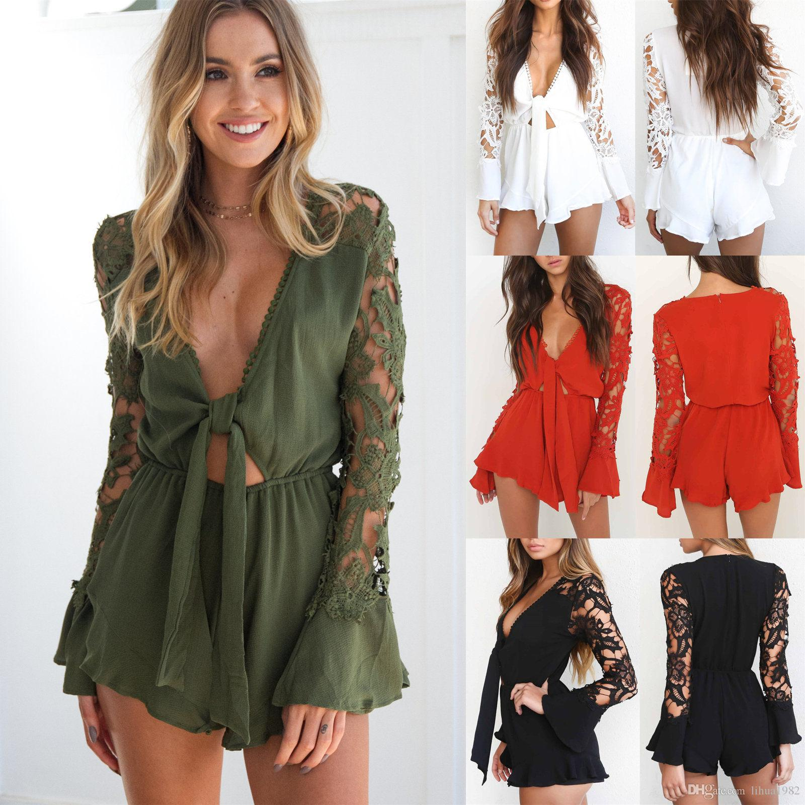 28287e10ad 2019 Womens Lace Floral Long Sleeve Playsuit Dresses Ladies Summer Shorts  Jumpsuit From Lihua1982