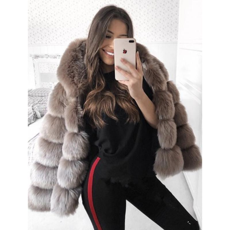 9de10dbff4d 2019 5XL Plus Size Faux Fur Coat Women Winter Hooded Thick Warm Jacket Coats  Fluffy Hoodie Faux Fur Coat Outwear Elegant Overwear From Jingju